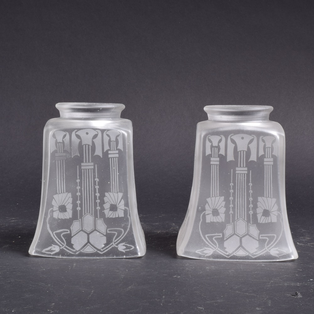 Etched and Frosted Art Deco Glass Lamp Shades