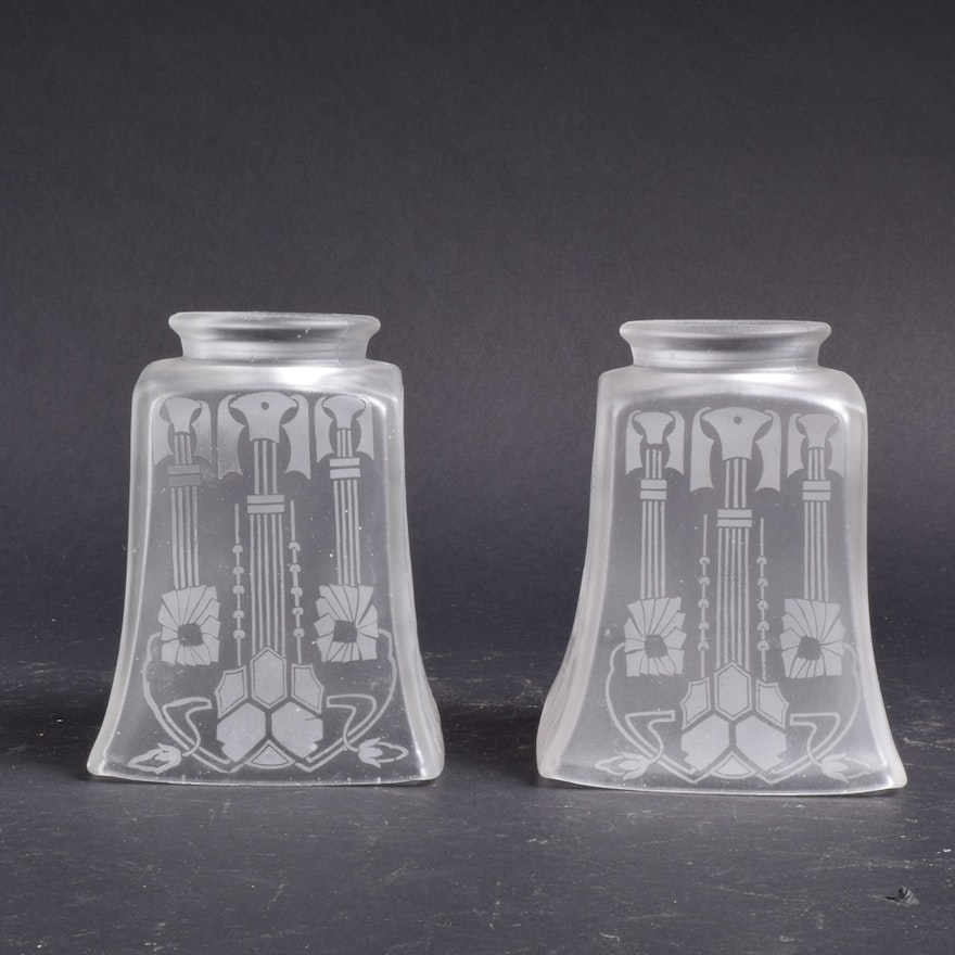 Etched and frosted art deco glass lamp shades ebth etched and frosted art deco glass lamp shades mozeypictures Images