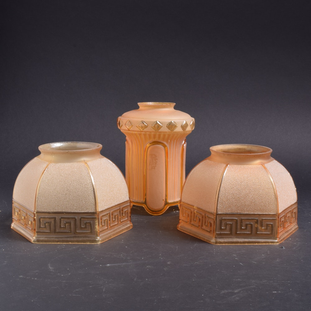 Art Deco Style Amber Colored Glass Shades