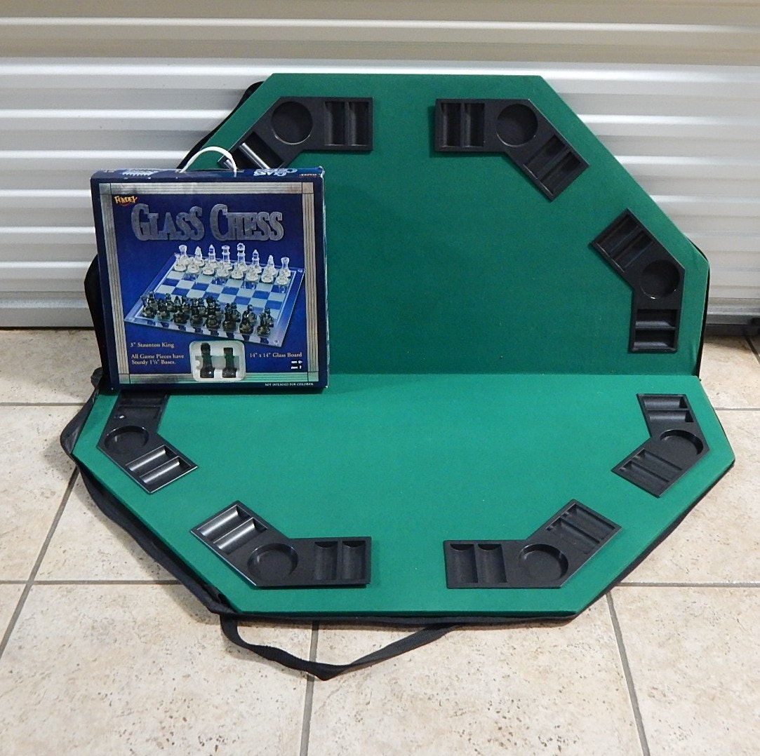 Portable Poker Table and Glass Chess Set