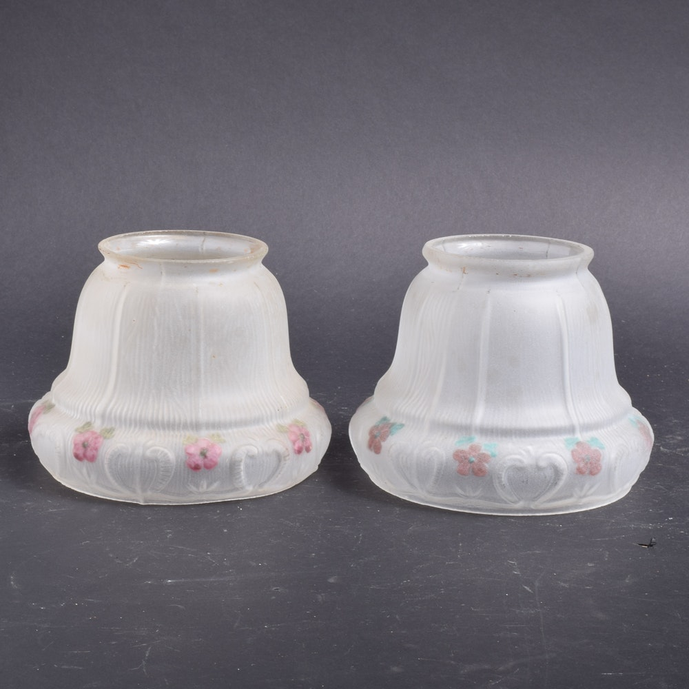 Frosted Glass Lamp Shades with Hand-Painted Flowers