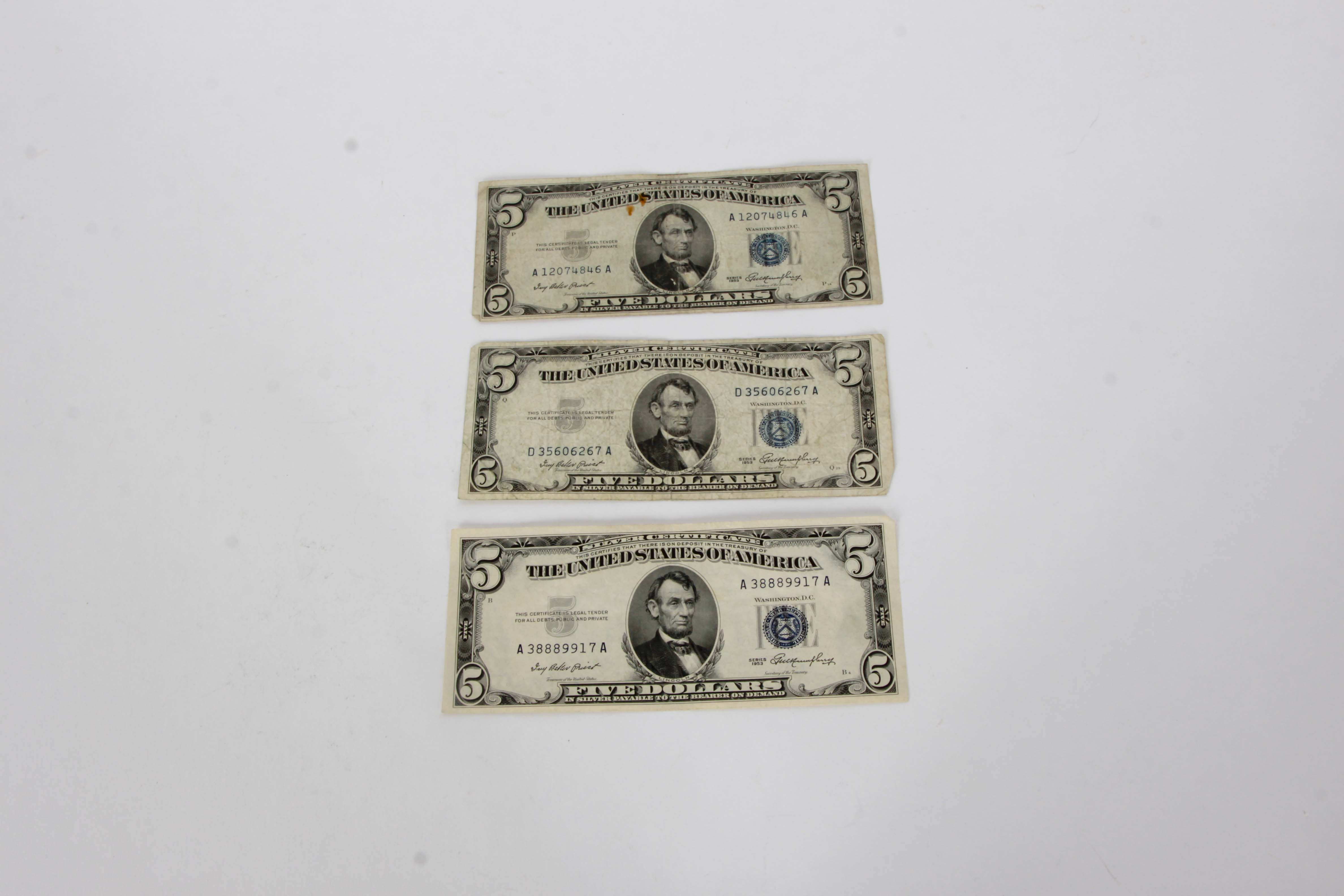 Collection of Three 1953 Five Dollar Silver Certificates