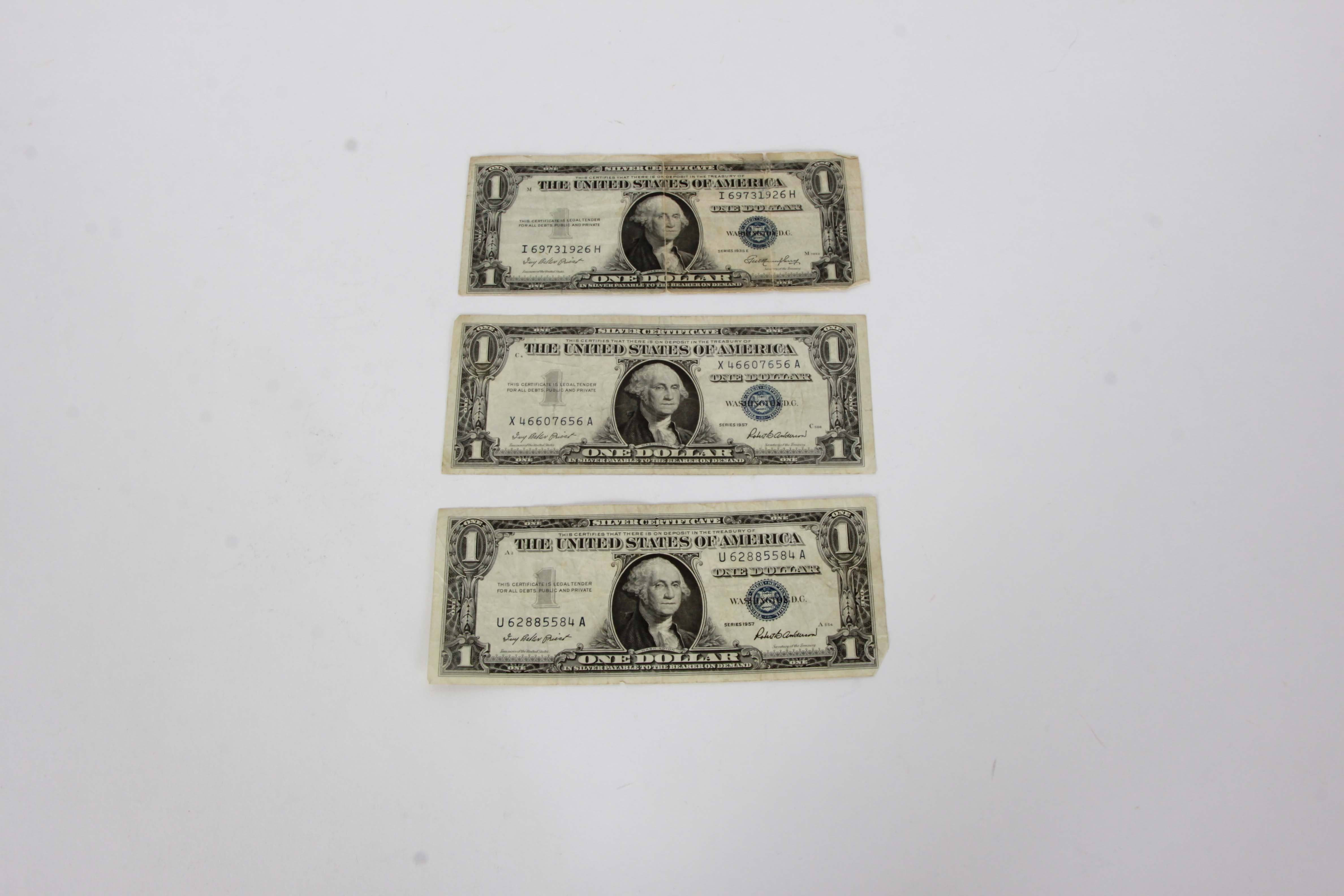 One Dollar 1957 and 1935 Silver Certificate