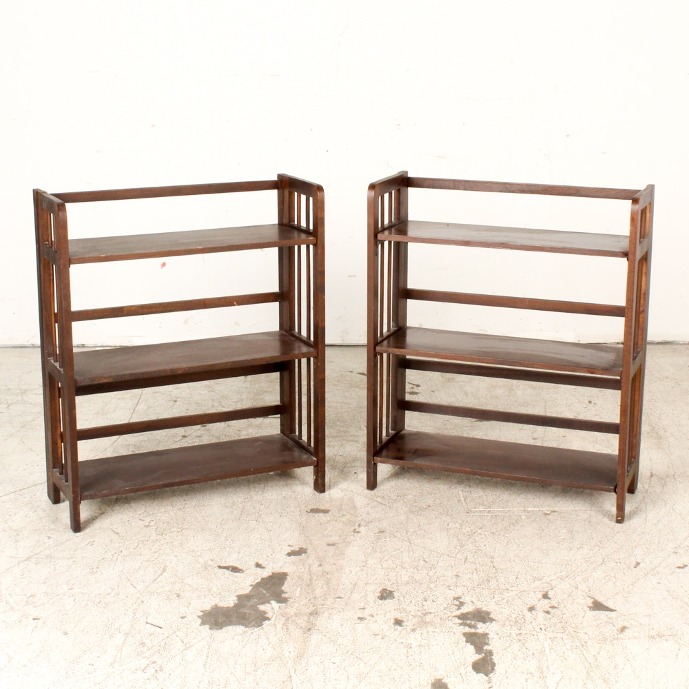 Vintage Arts and Crafts Style Three Shelf Folding Bookcases