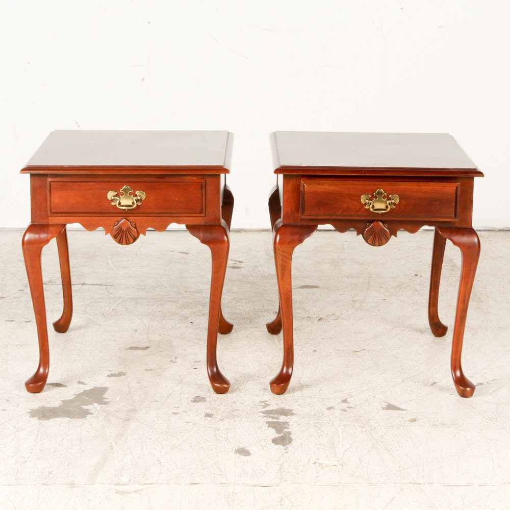 Pair of Queen Anne Style Cherry End Tables