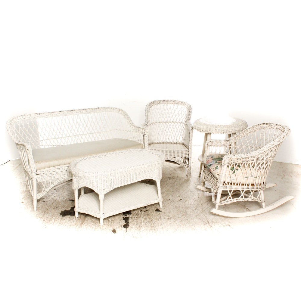 Set of White Wicker Patio Furniture