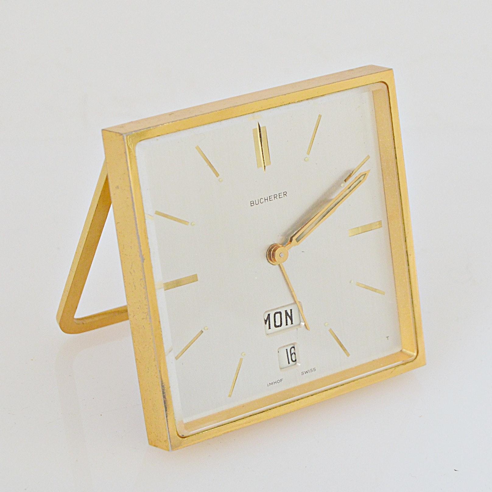 Vintage Bucherer Travel Alarm Clock