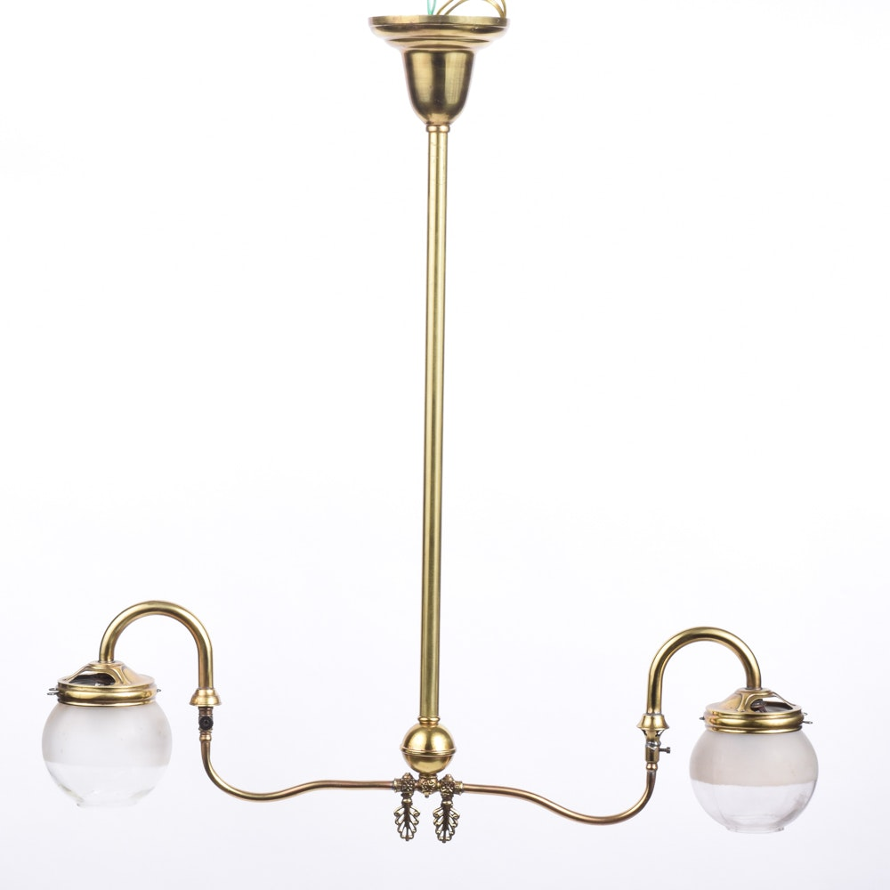 Vintage Brass and Glass Ceiling Light