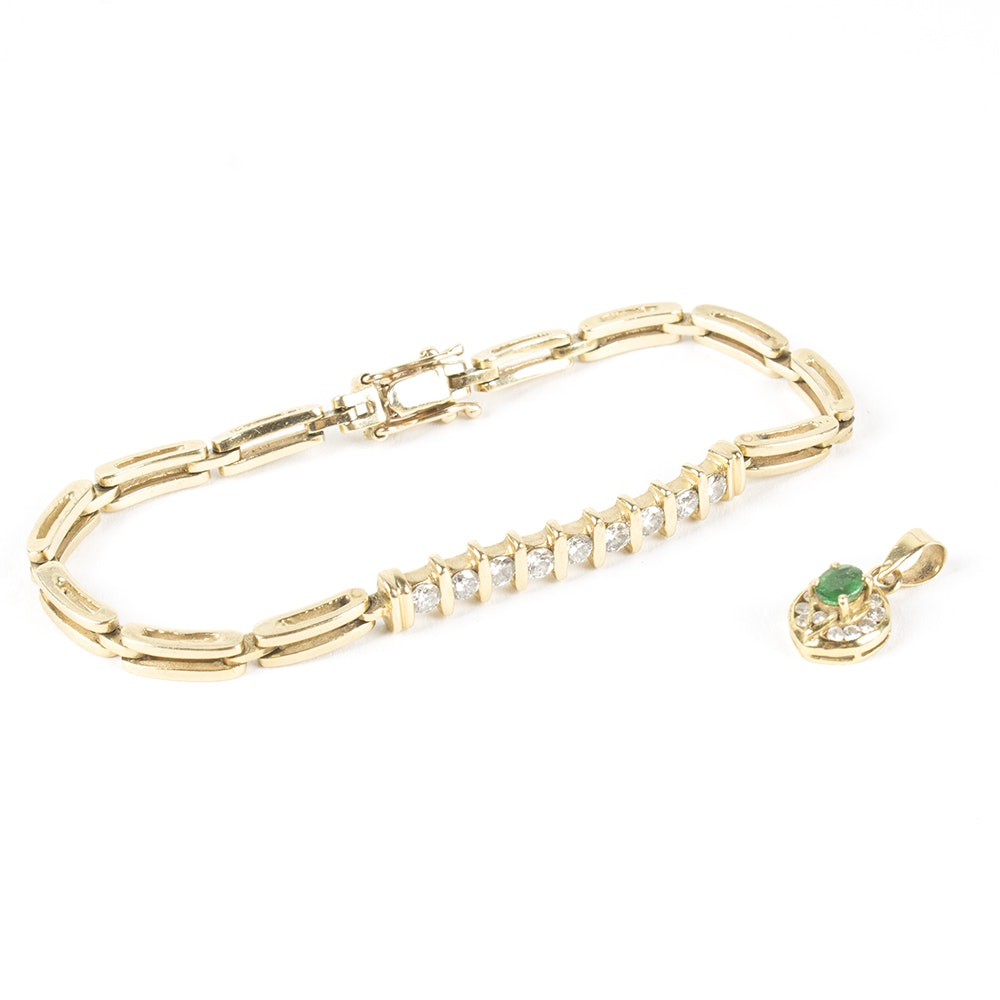 14K Yellow Gold Diamond Bracelet and Emerald Pendant