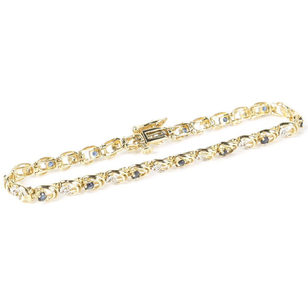 14K Yellow Gold Diamond and Sapphire Bracelet