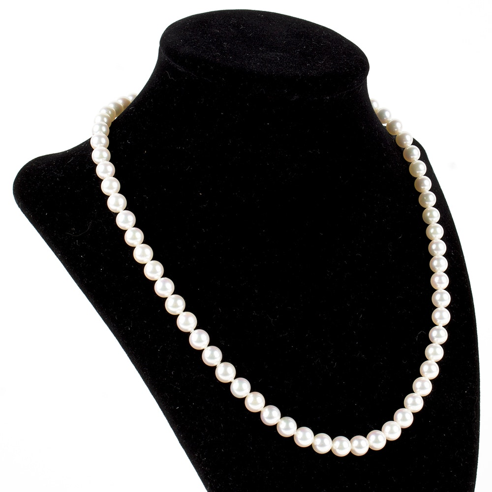 18K Yellow Gold Mikimoto Pearl Necklace