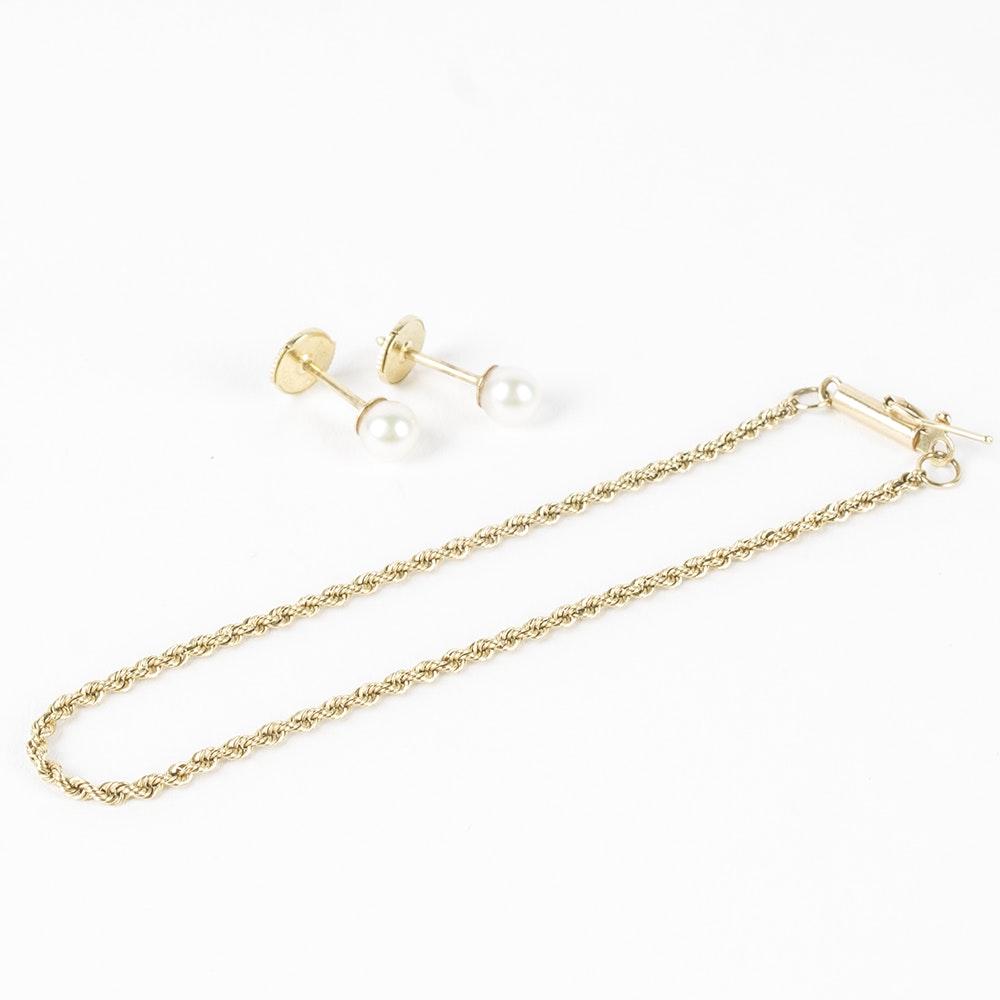 14K Yellow Gold Bracelet and Pearl Earrings