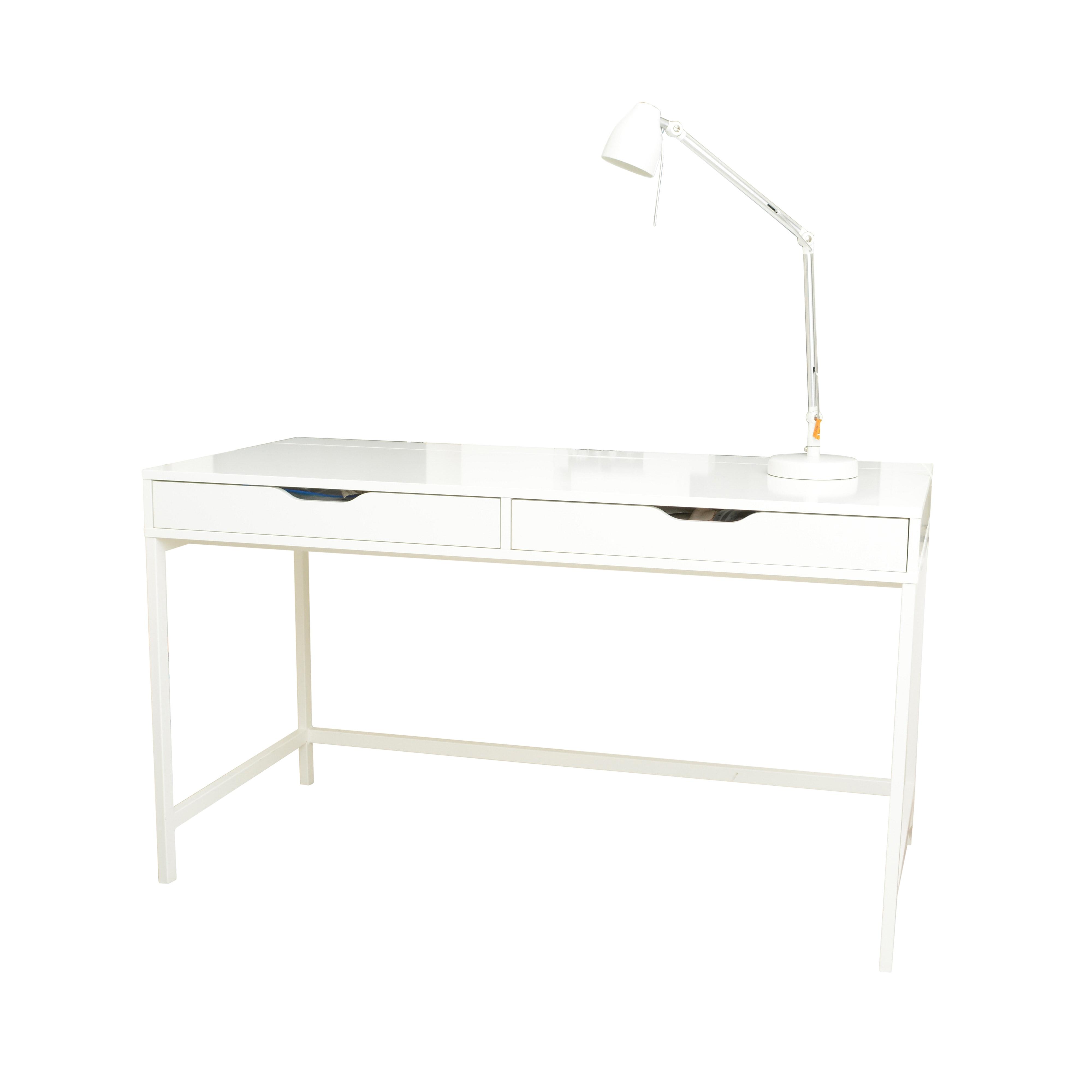 White Melamine Desk with Desk Lamp