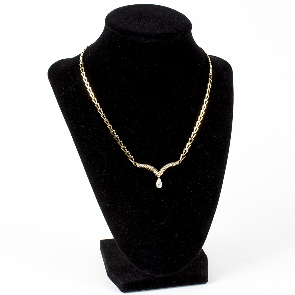 "14K Yellow Gold 1.28 CTW Diamond ""V"" Necklace"