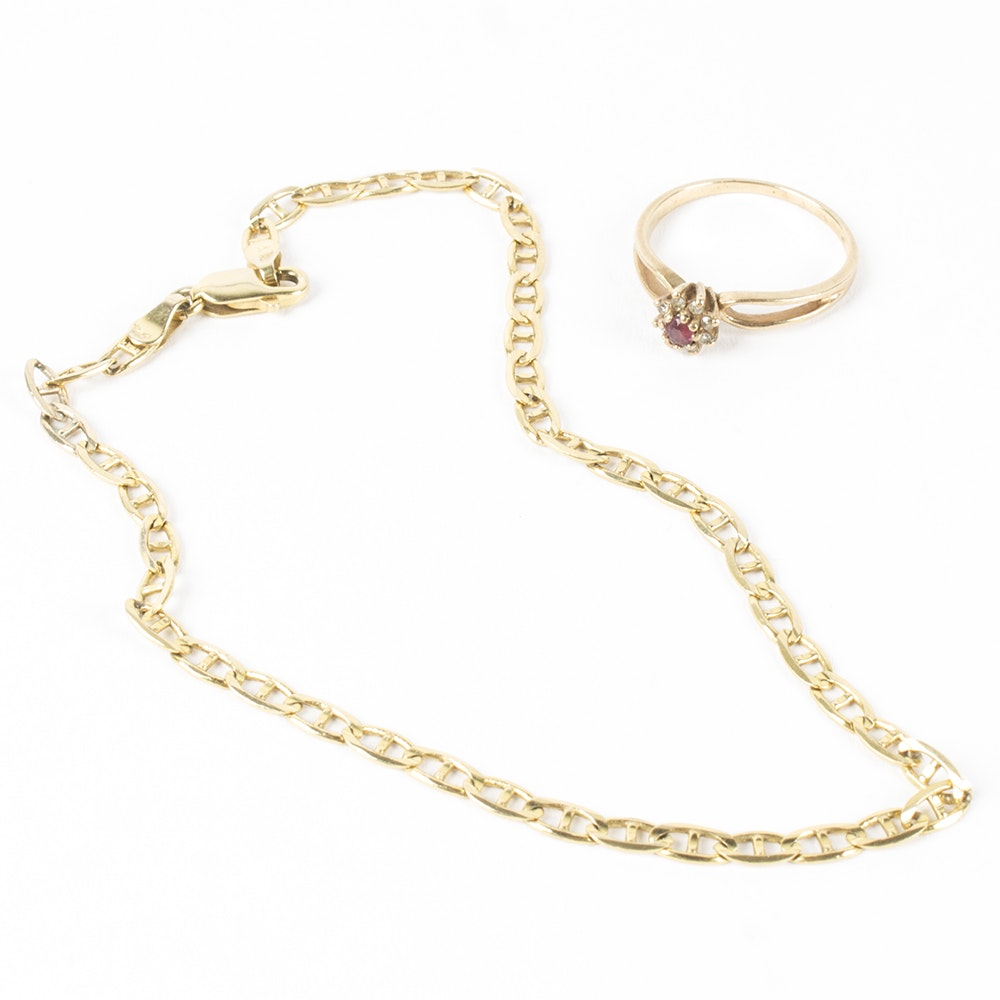 10K Yellow Gold Diamond and Ruby Ring with Anklet