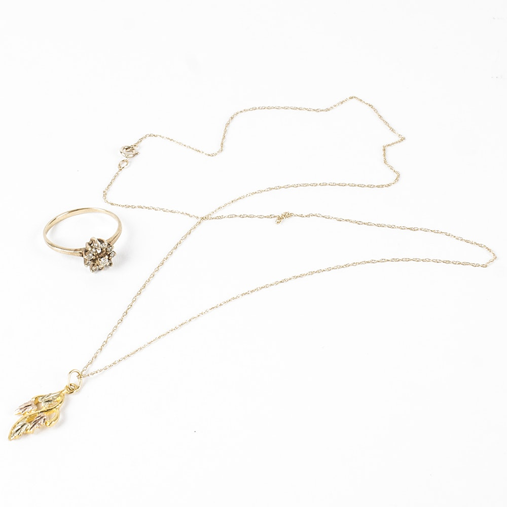 10K Yellow Gold Ring and Necklace