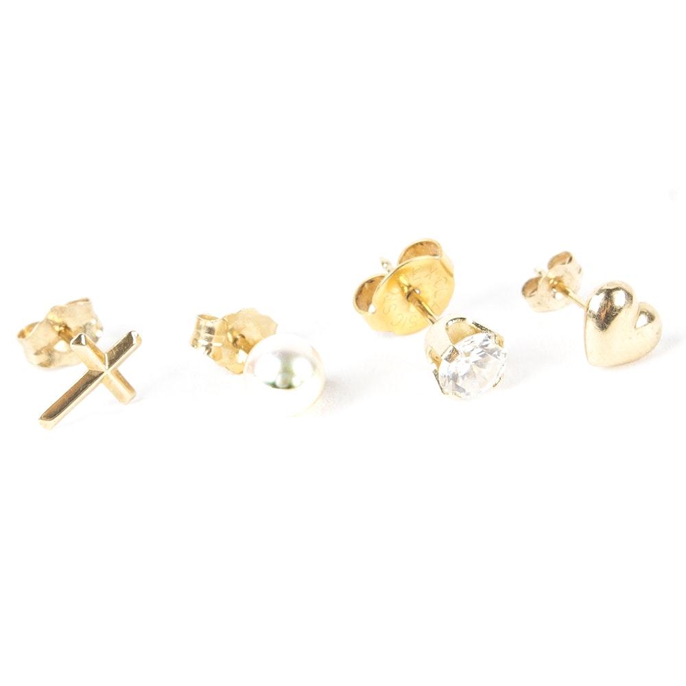 Gold Single Stud Earrings