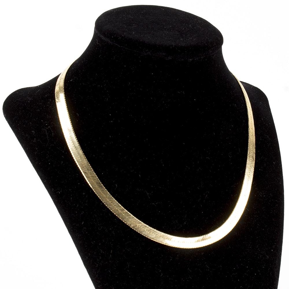 14K Yellow Gold Herringbone Necklace