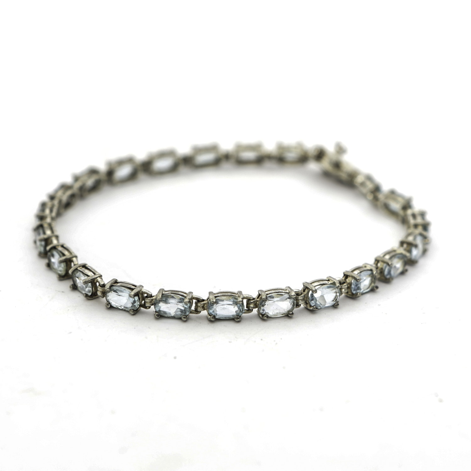 Sterling Silver and Blue Topaz Tennis Bracelet