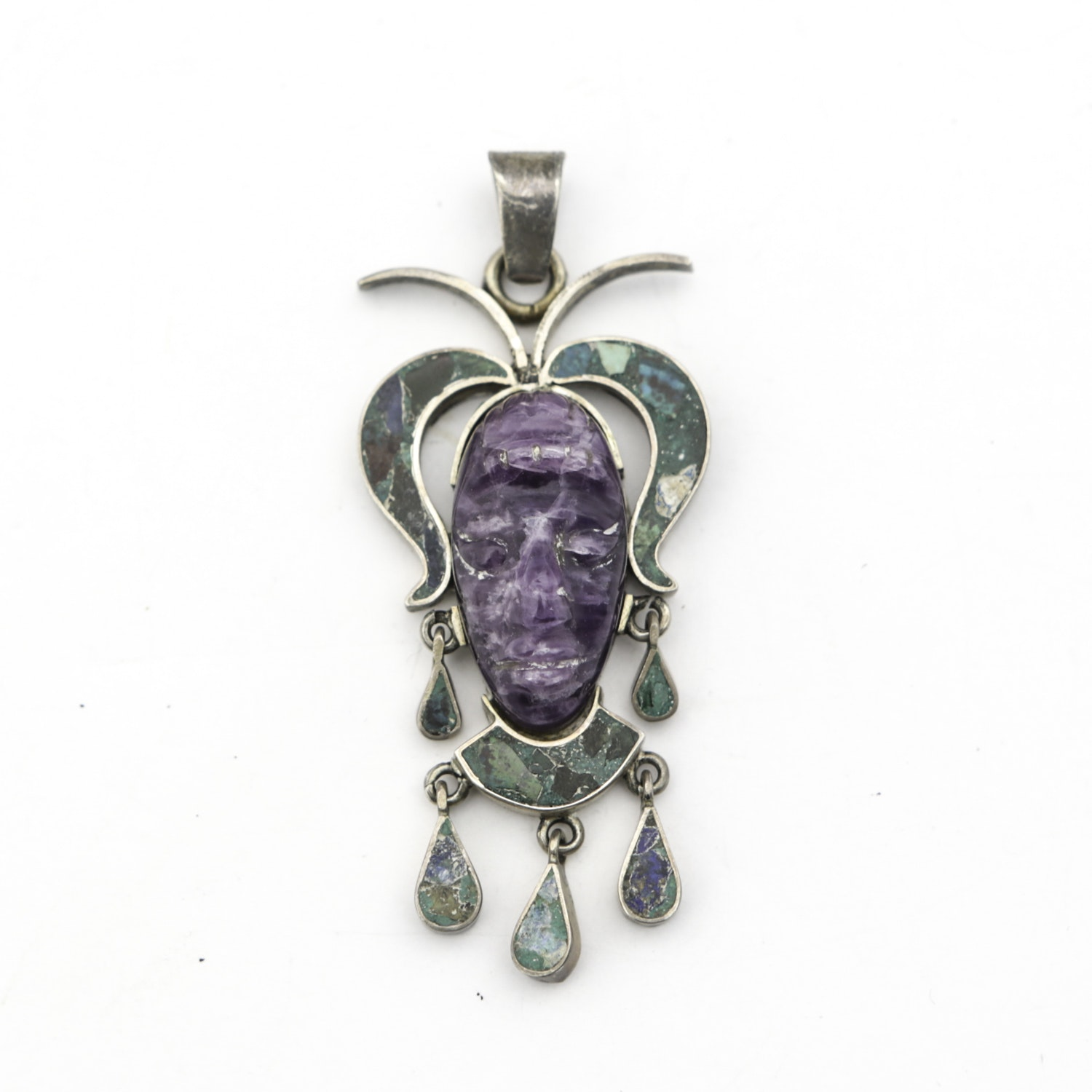 Vintage Taxco Sterling and Amethyst Aztec Pendant