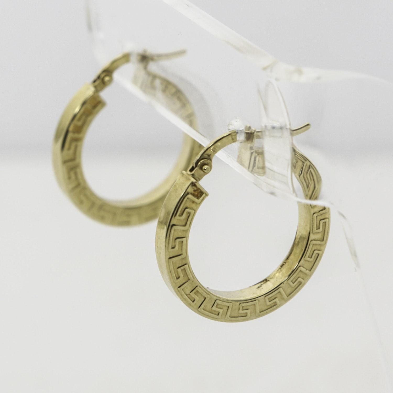 18K Yellow Gold Greek Key Hoop Earrings