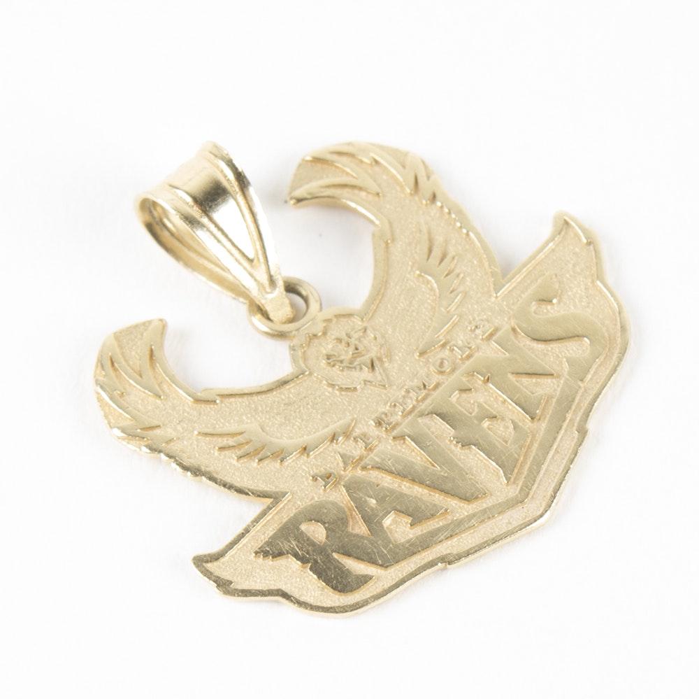 14K Yellow Gold Baltimore Ravens Pendant