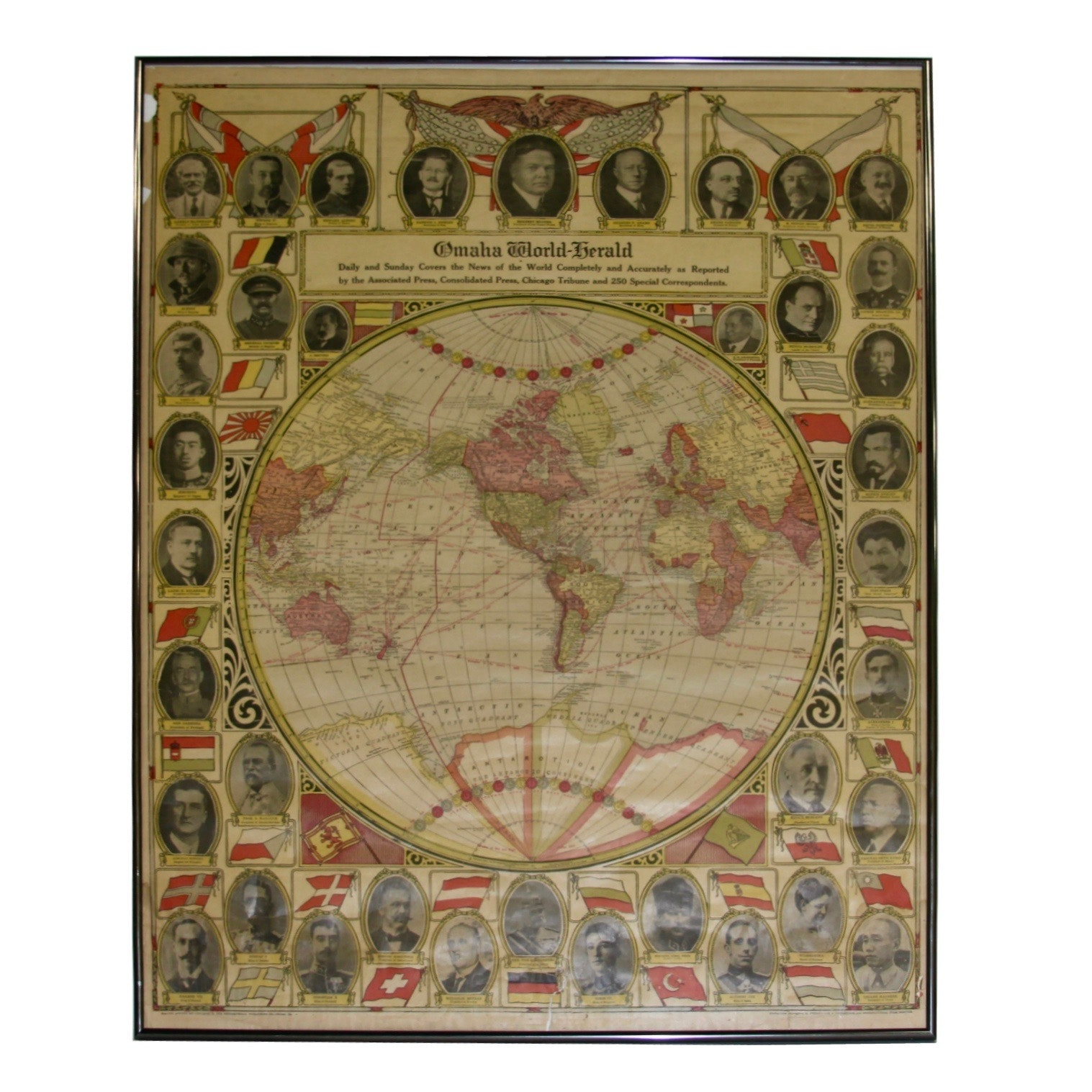 "1909 ""Omaha World-Herald"" Offset Lithograph Print of World Map and Leaders"