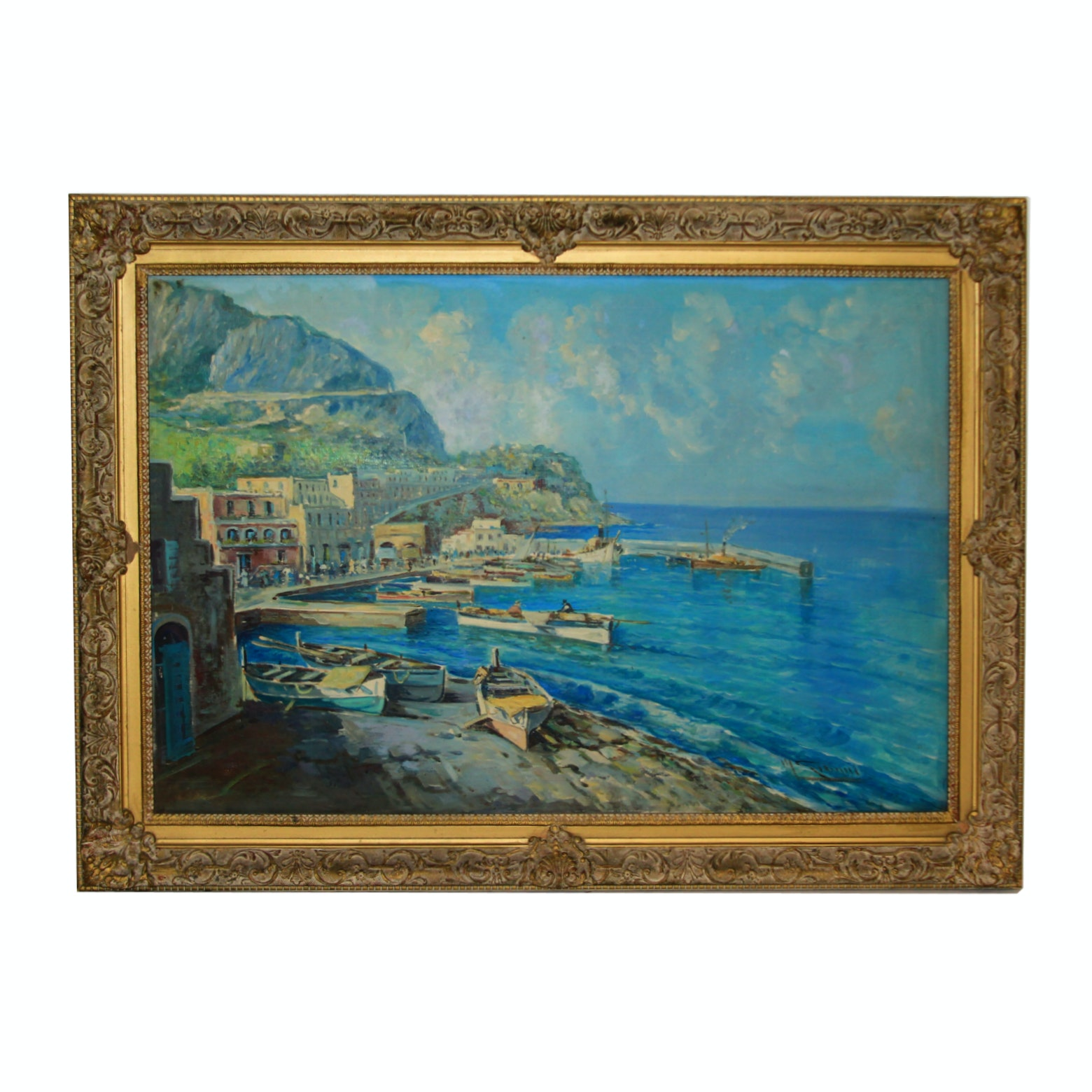 Oil Painting of an Oceanfront Scene