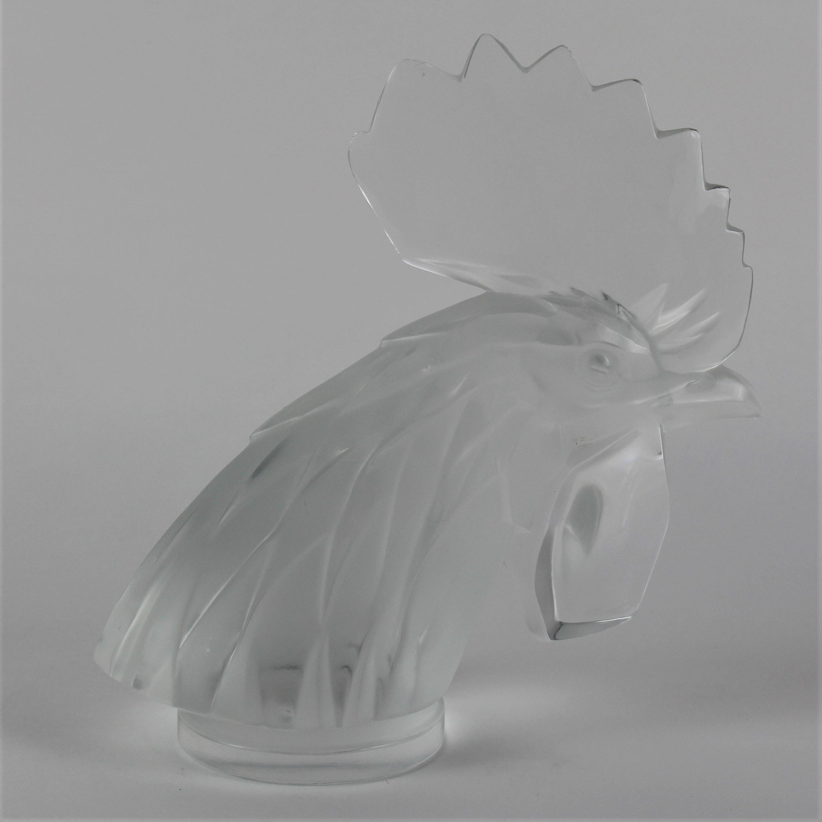 """Lalique Crystal Rooster's Head """"Tete De Coq"""" Car Mascot"""