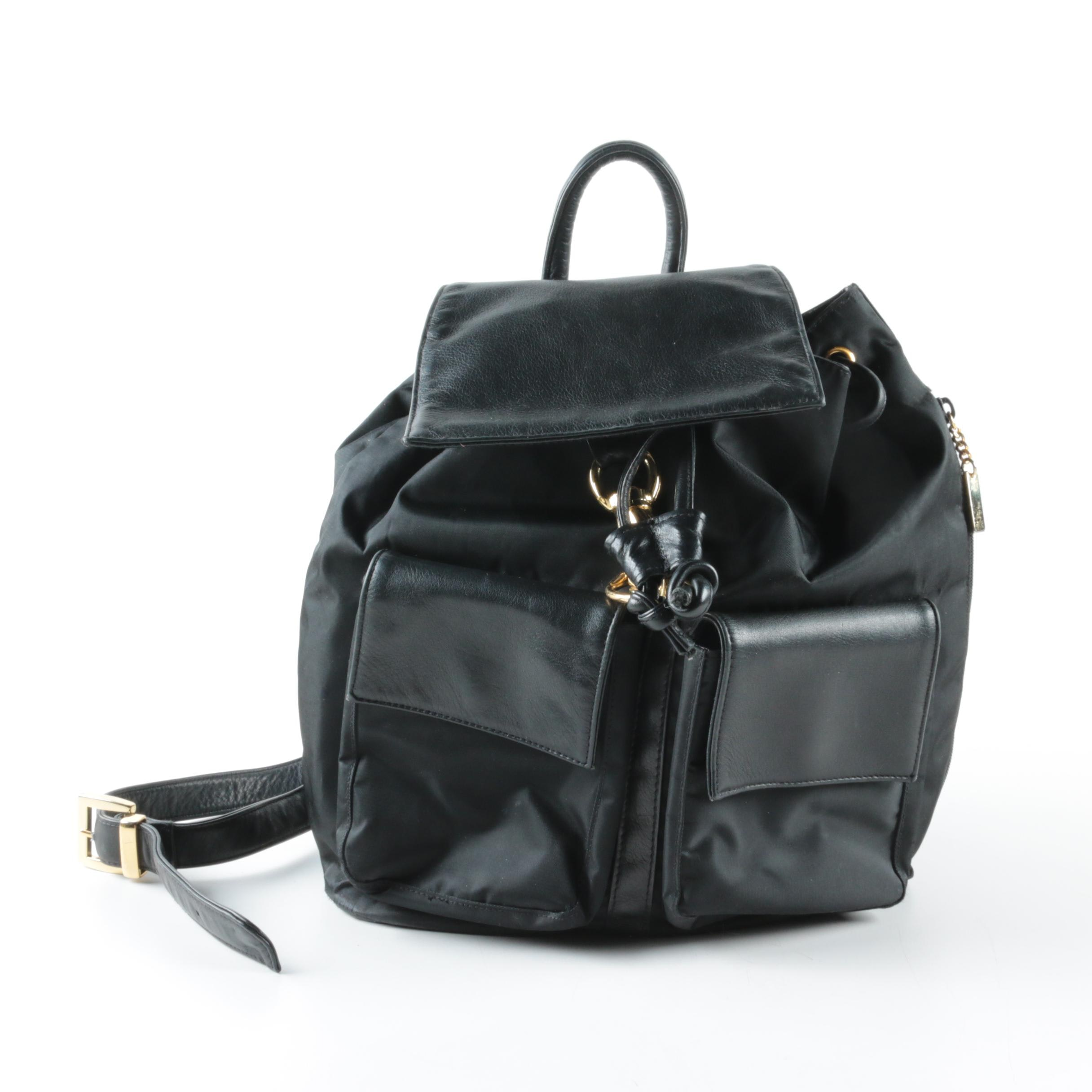 Lord & Taylor Nylon and Leather Backpack Purse