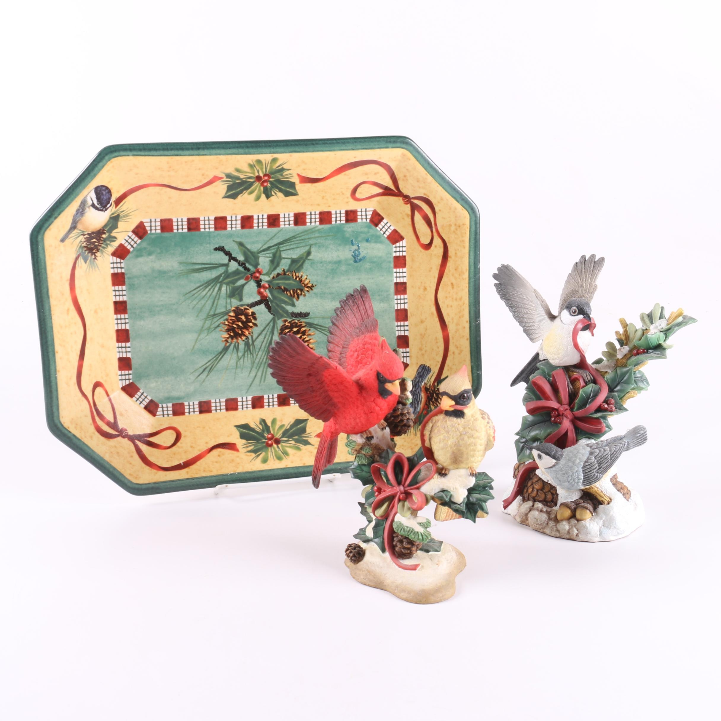 """Lenox Porcelain Holiday Bird Figurines and """"Winter Greetings"""" Tray"""