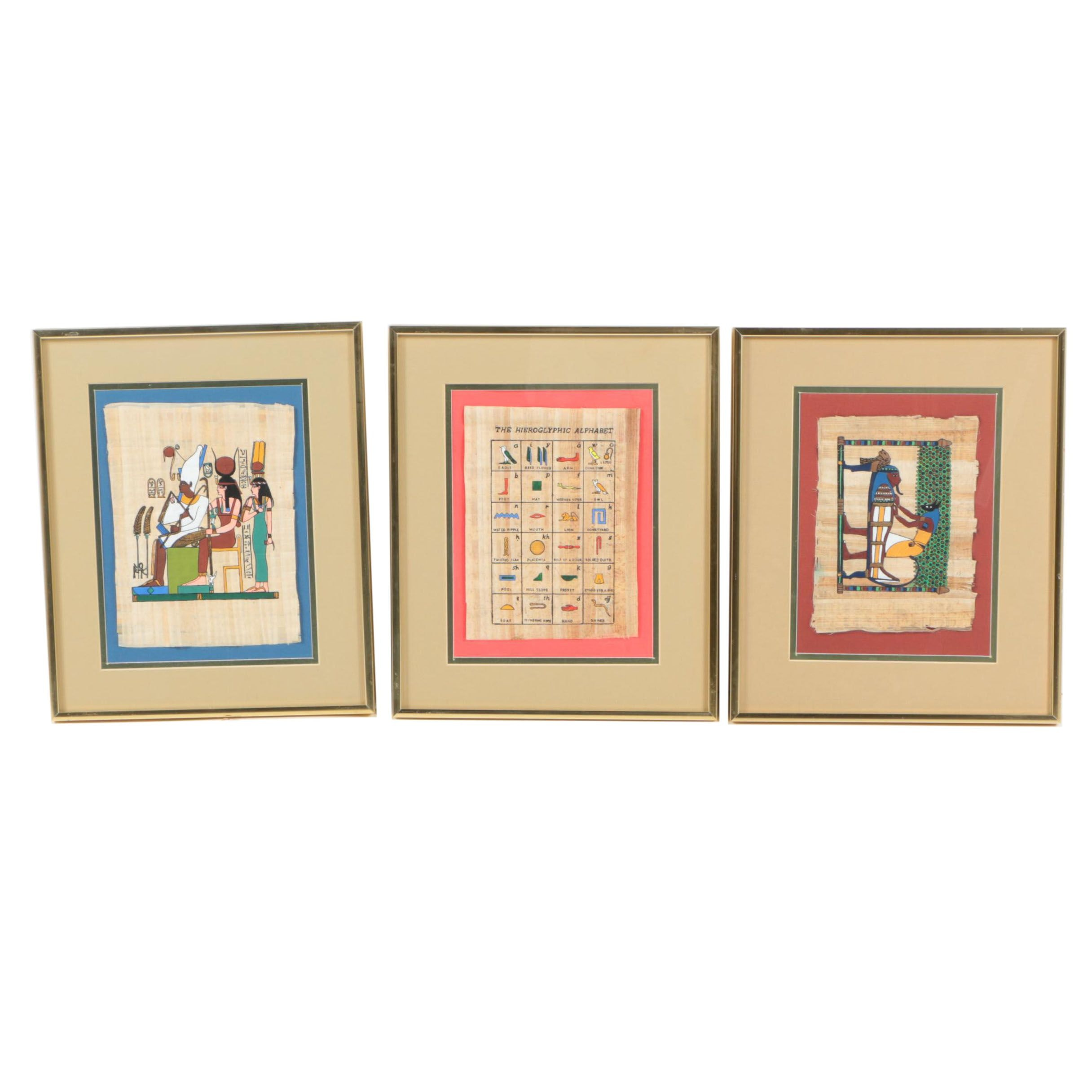 Three Egyptian Serigraph Prints on Papyrus