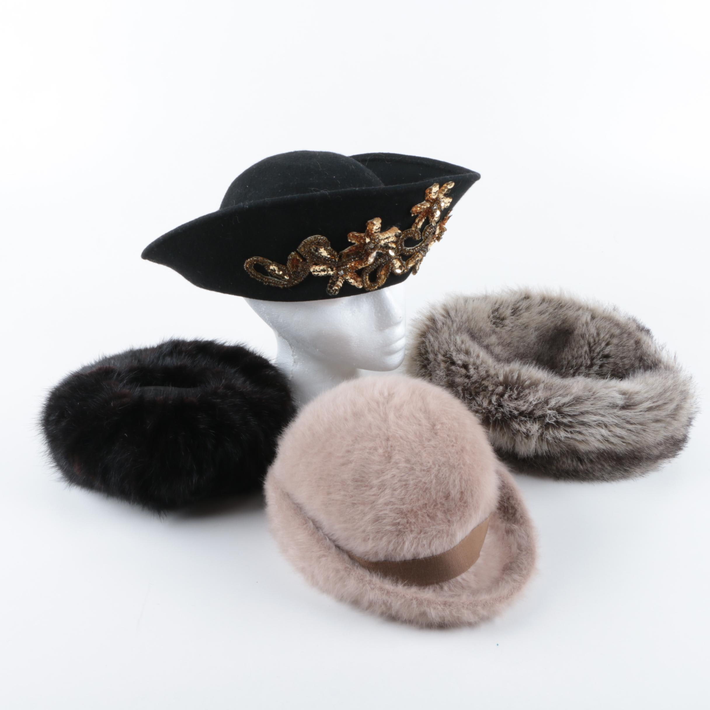 Women's Fur and Wool Hats Including Vintage Mr. John Signature Series