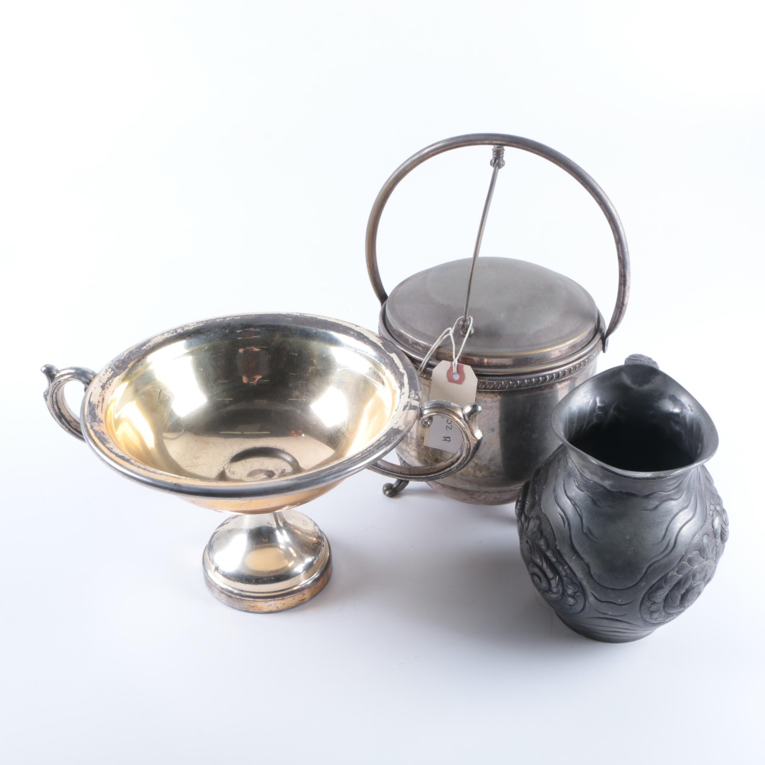 Silver Plate Ice Bucket and Other Silver Plate and Silver Tone Tableware