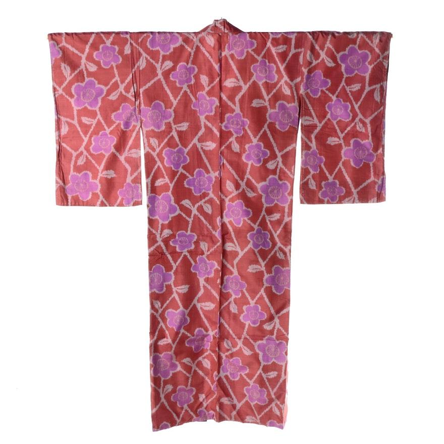 268de81e2 Circa 1920s Vintage Japanese Handwoven Silk Ikat Komon Kimono : EBTH