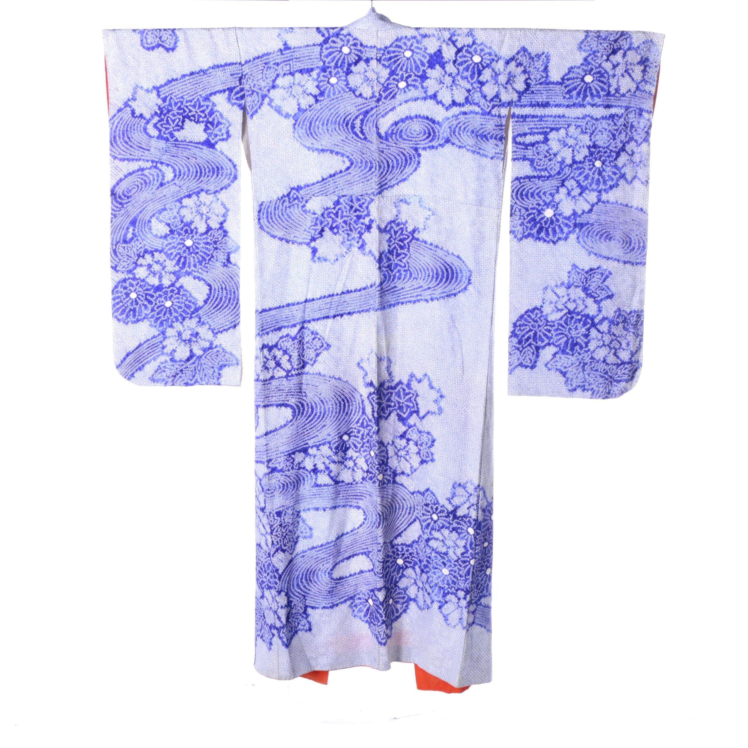 Circa 1940s Vintage Japanese Shiburi Dyed Silk Furisode Kimono