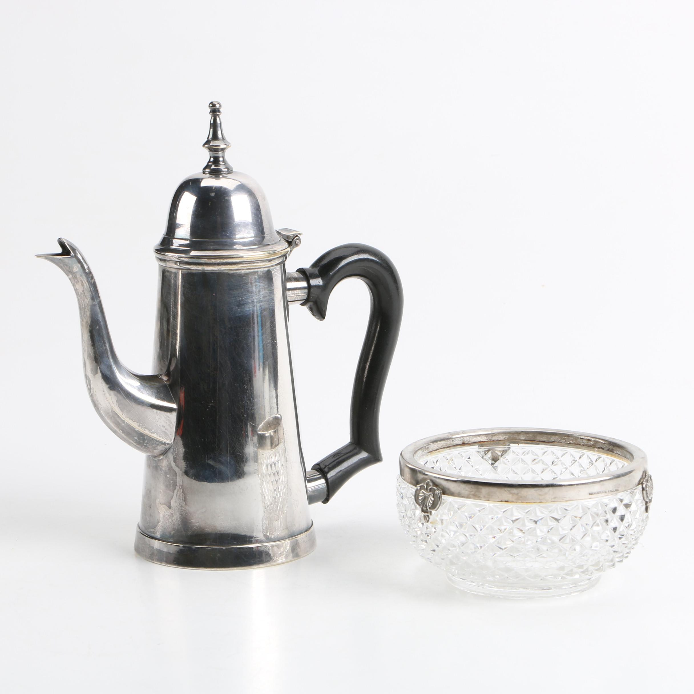 English Cut Glass Nut Dish with Silver Plate Coffee Pot