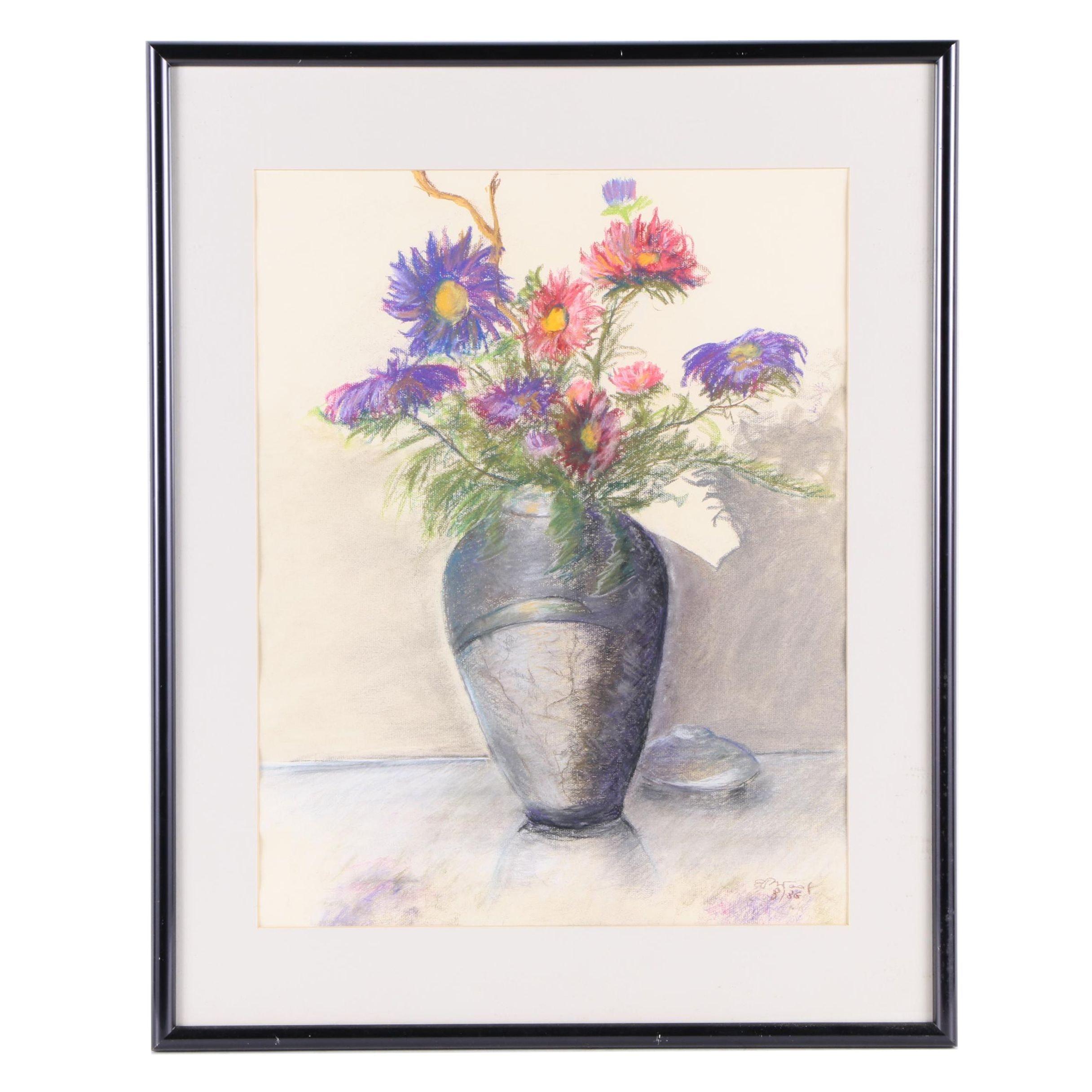 """Eloe Woolf-Laiken Pastel Drawing """"Anemones"""""""