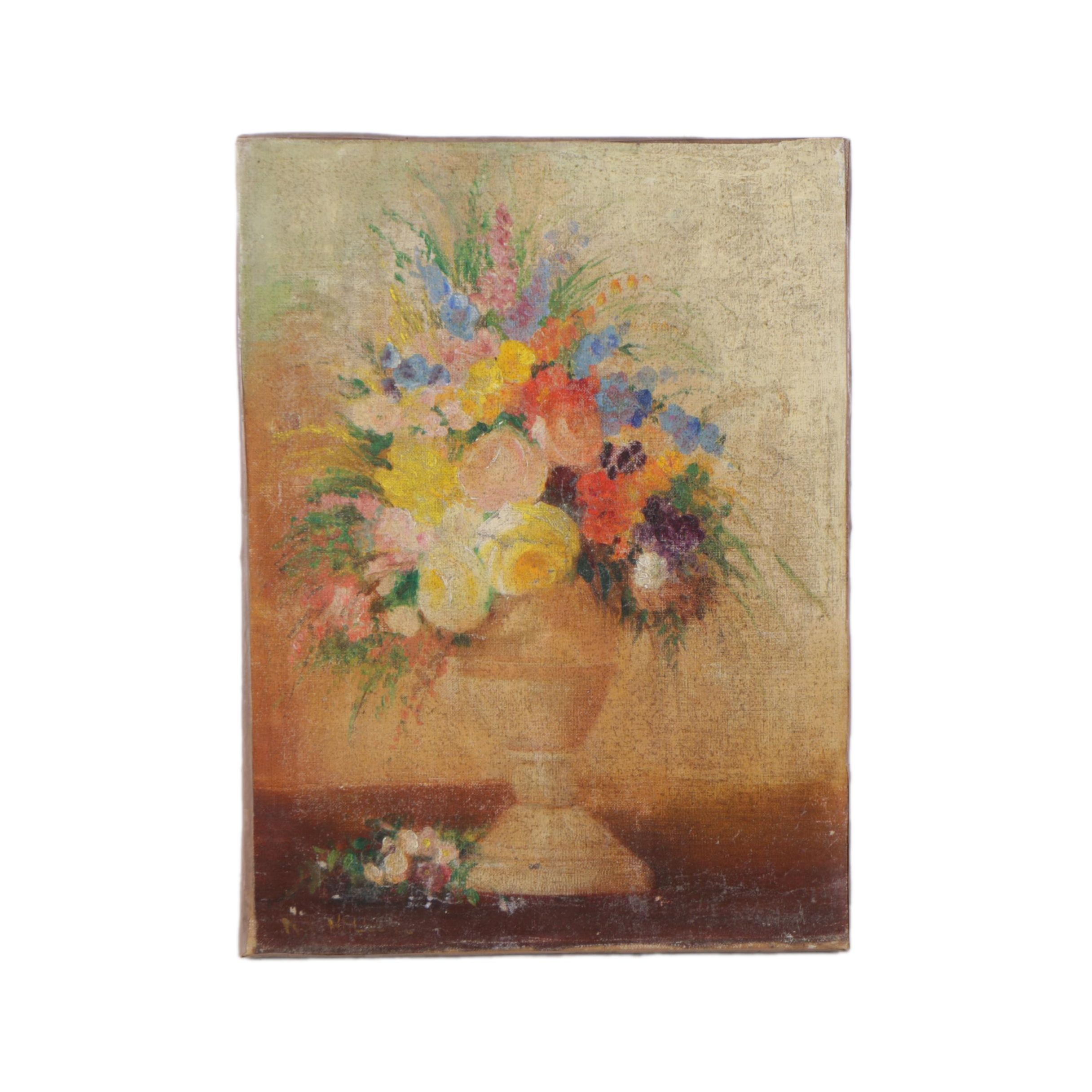 Nellie Ward Haller Oil Painting on Canvas of a Floral Arrangement