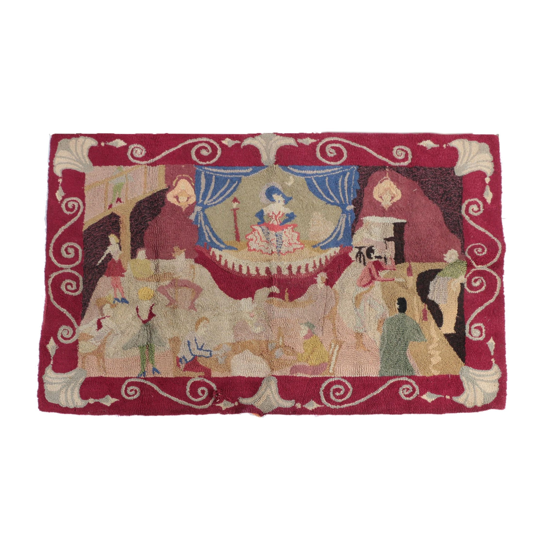 Hand-Hooked Pictorial Wool Area Rug