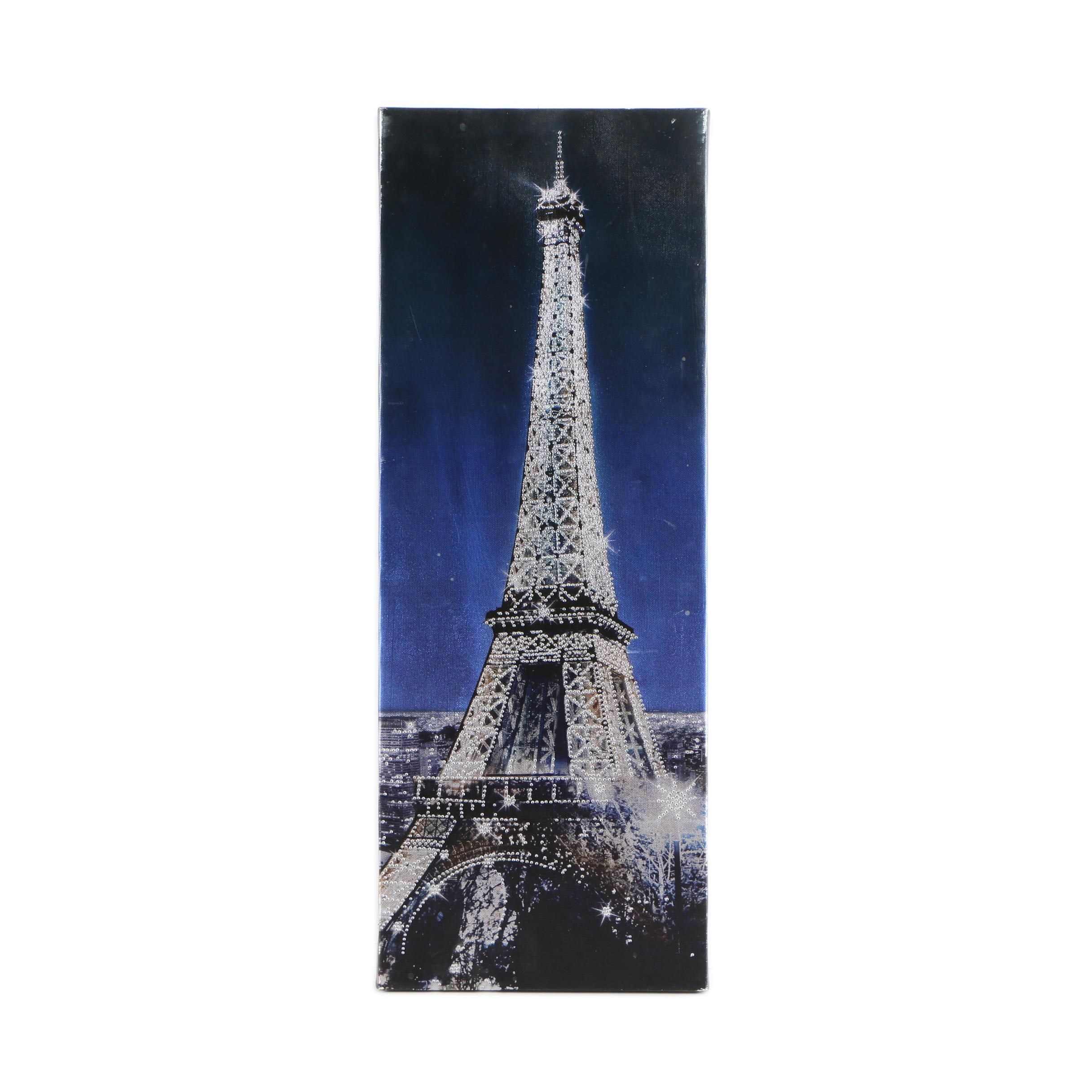 Embellished Giclee Print on Canvas of Eiffel Tower