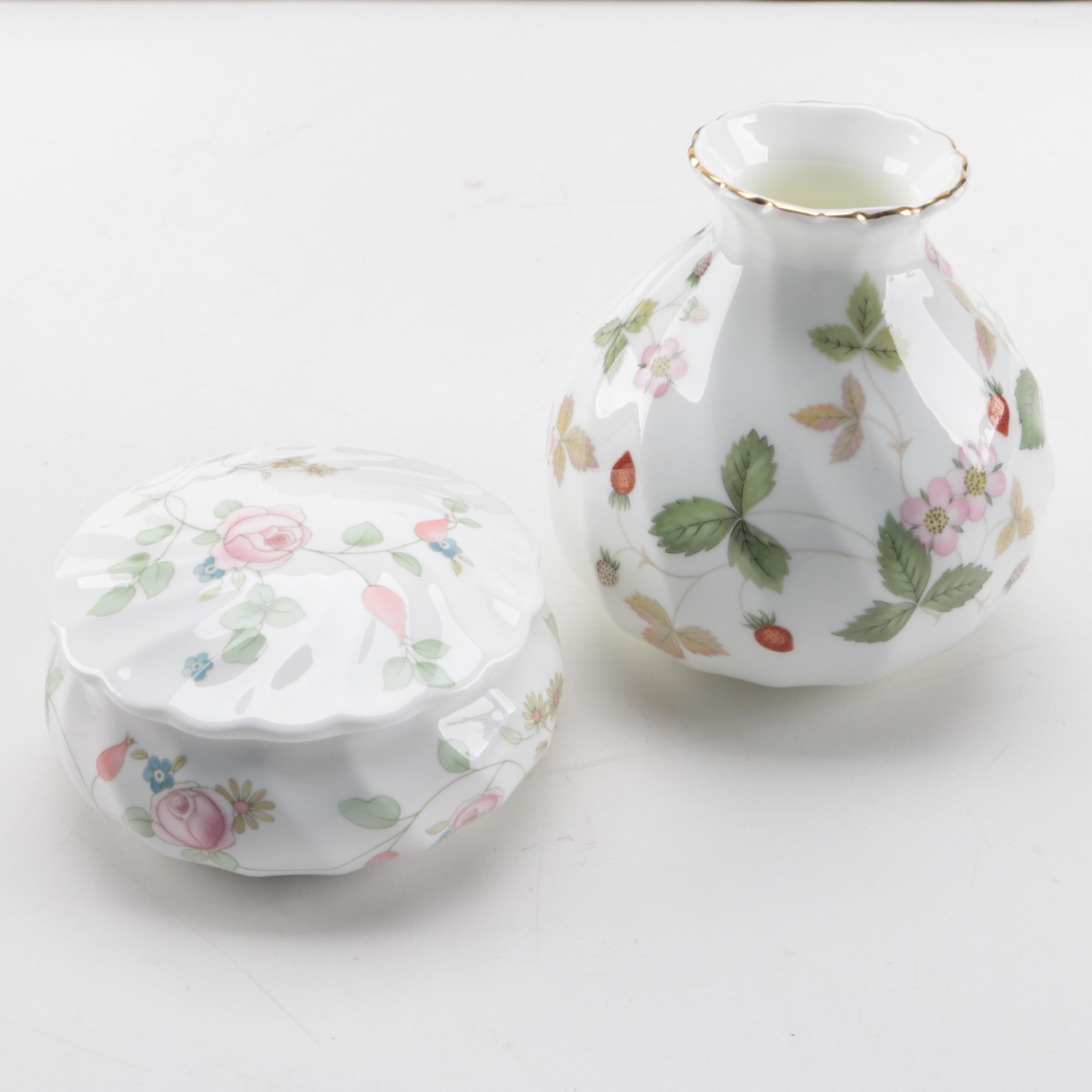 "Vintage Wedgwood ""Wild Strawberry"" Vase and ""Rosehip"" Trinket Box"