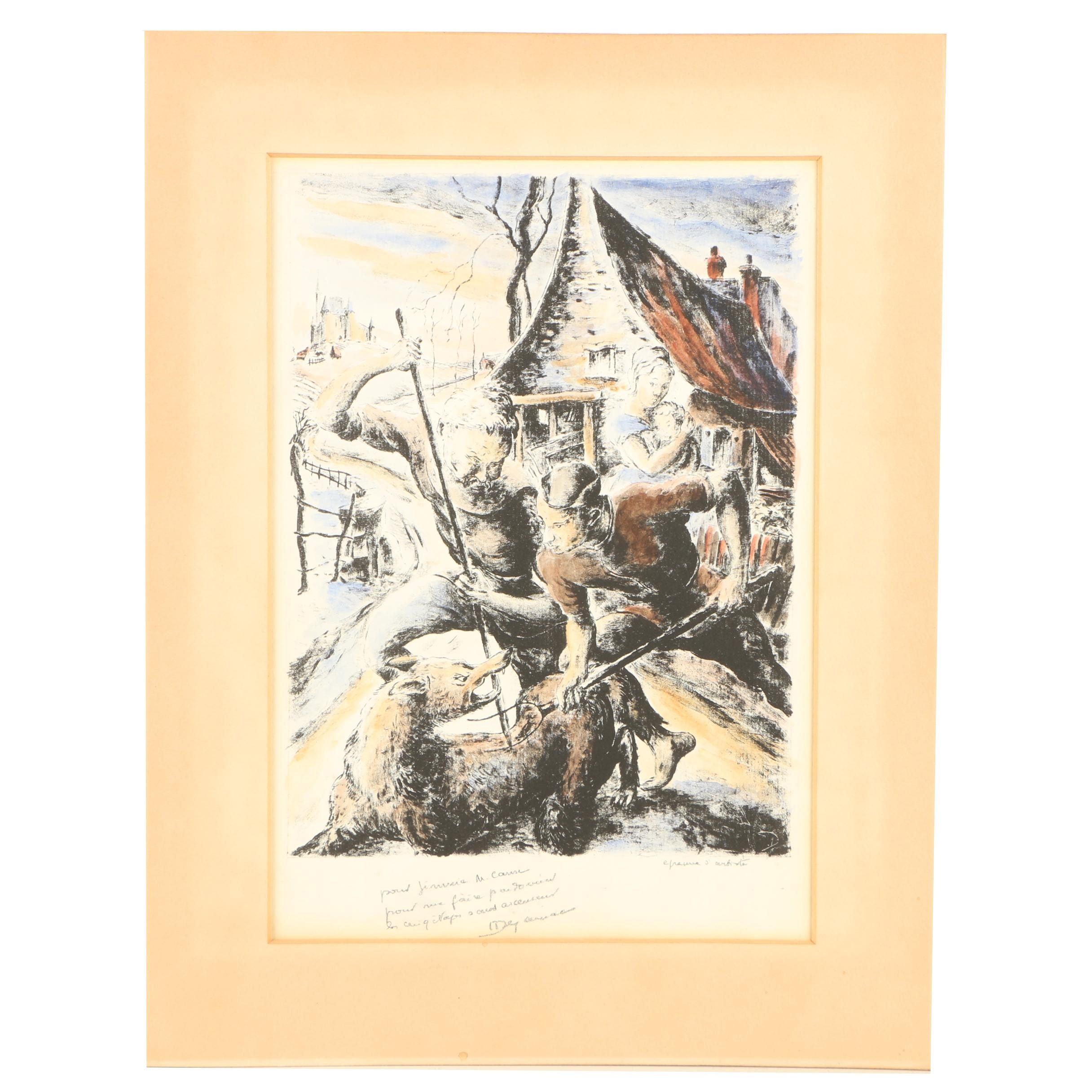 Hand-Colored Lithograph of Men Fighting Wolf
