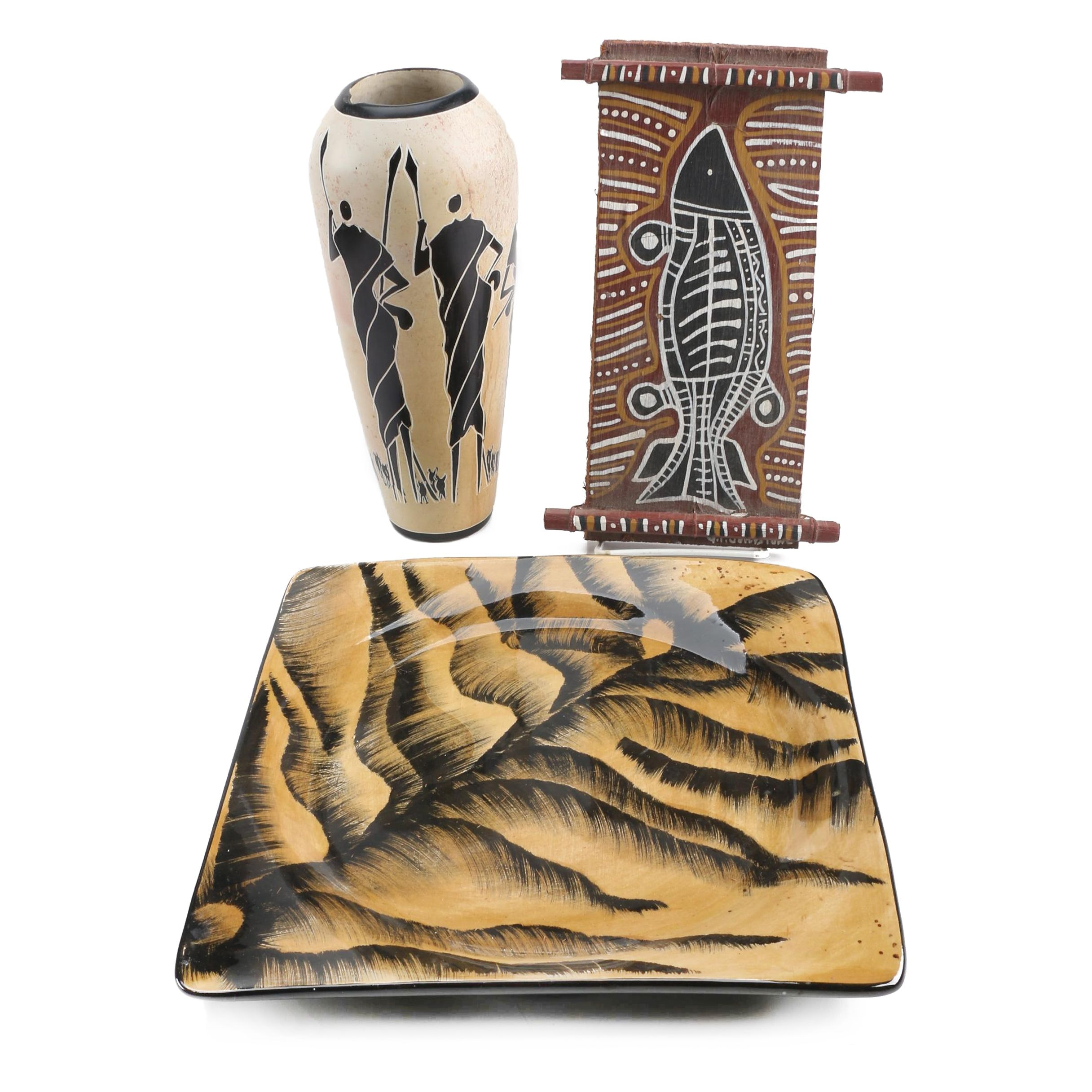 Decorative Vase, Platter and Wall Hanging