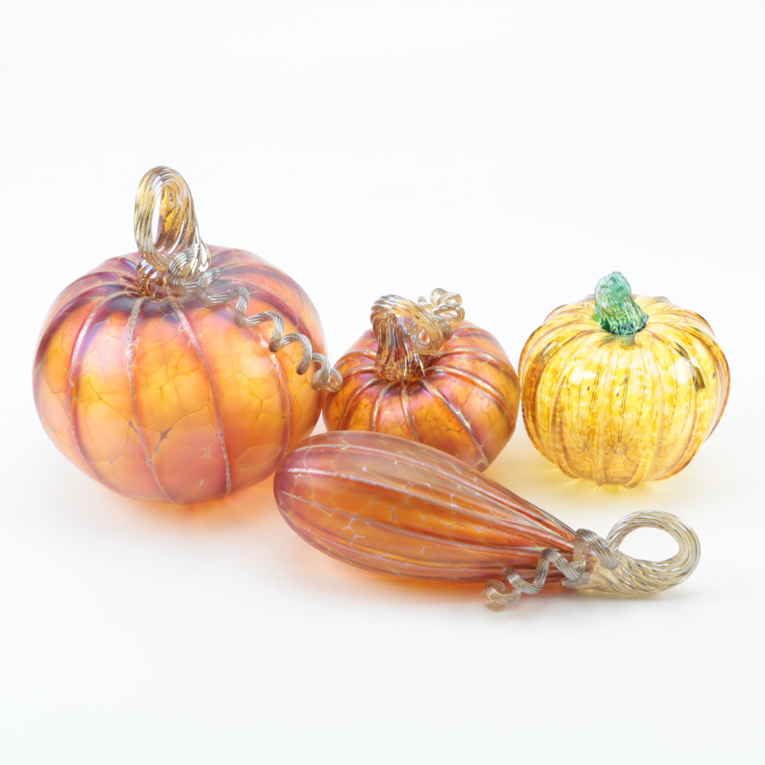 Signed Glass Pumpkin and Gourd Figurines