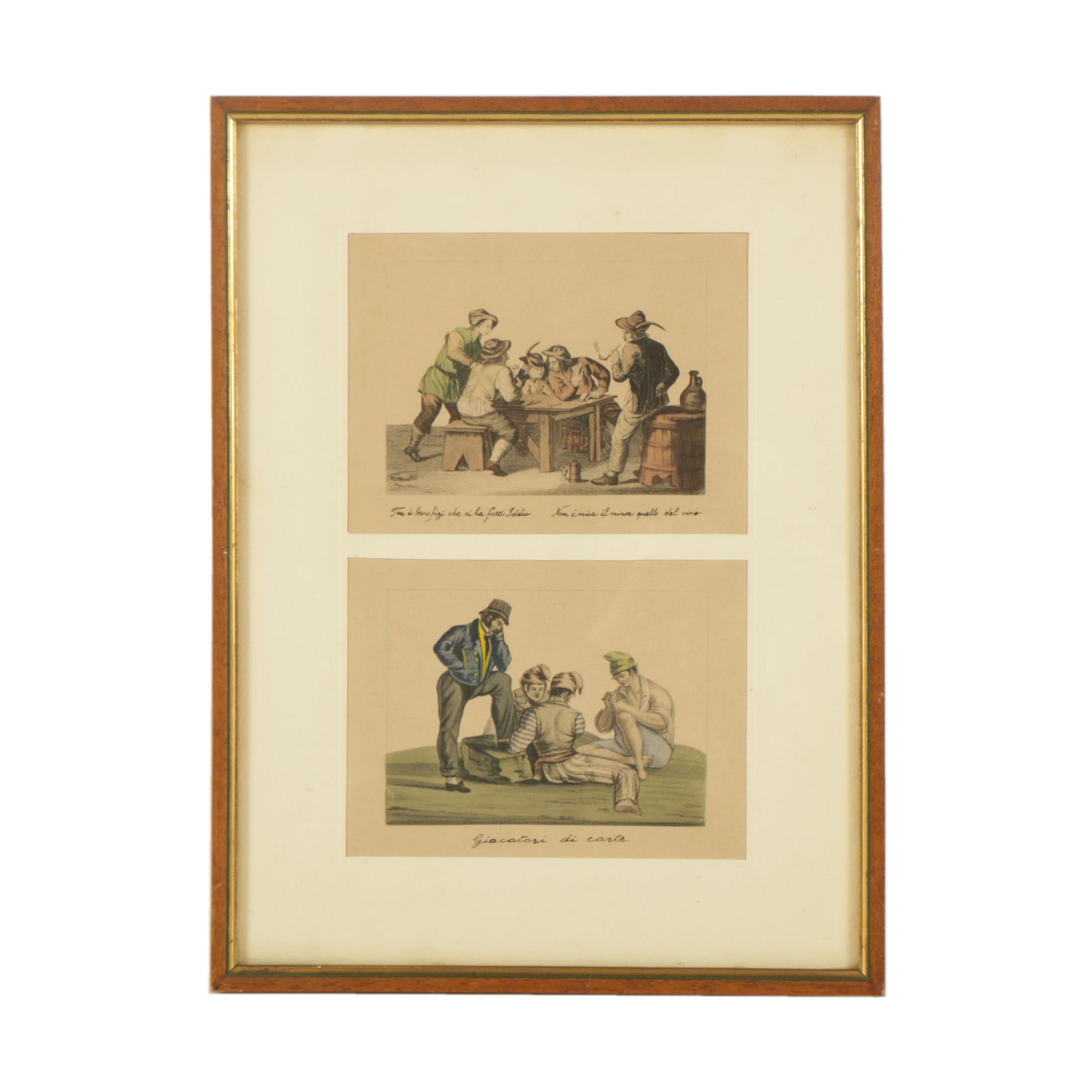 "Hand Colored Etchings with Aquatint Featuring ""Giocatori di Carte"""