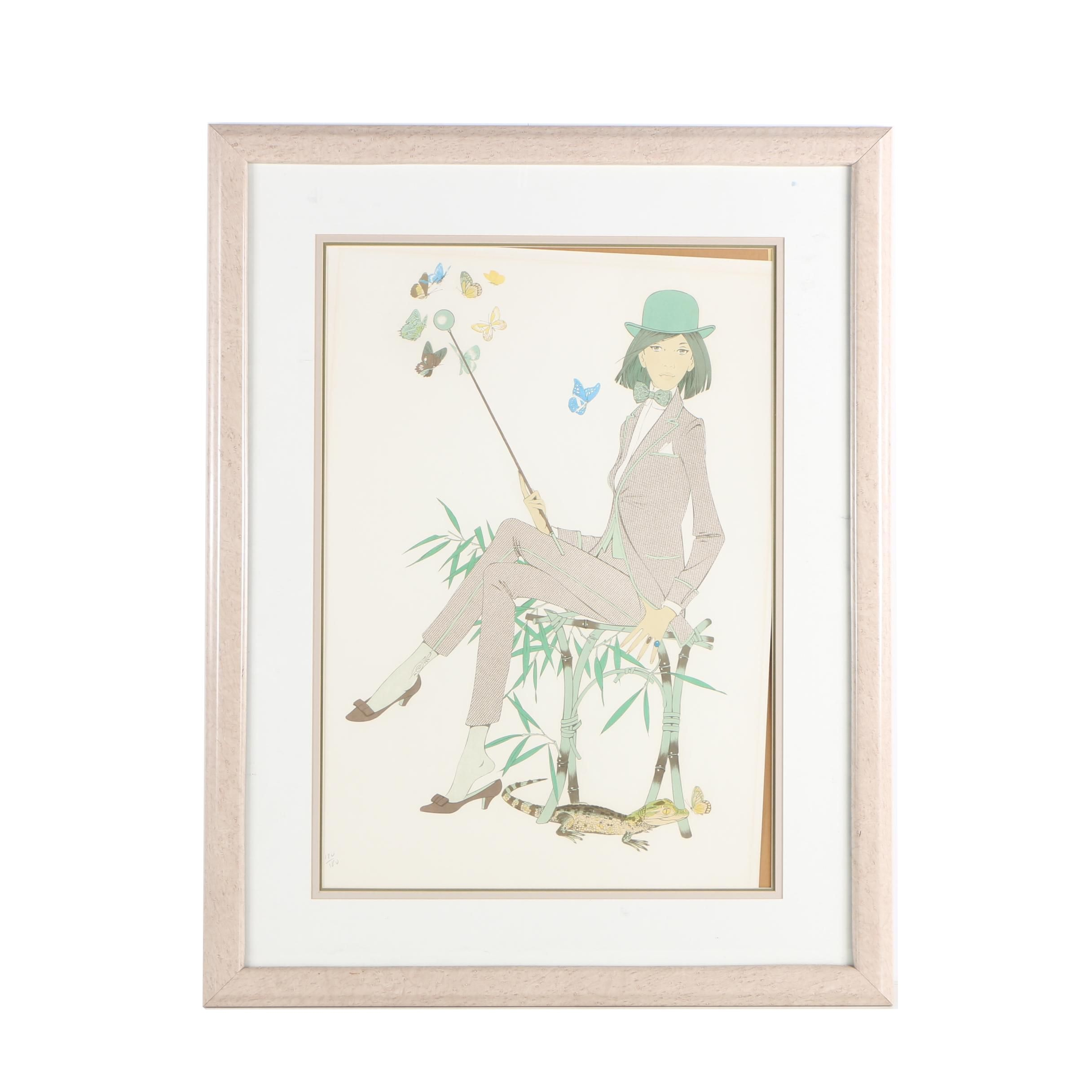 "Lithograph Print ""Woman With Butterflies"" after Philippe Henri Noyer"