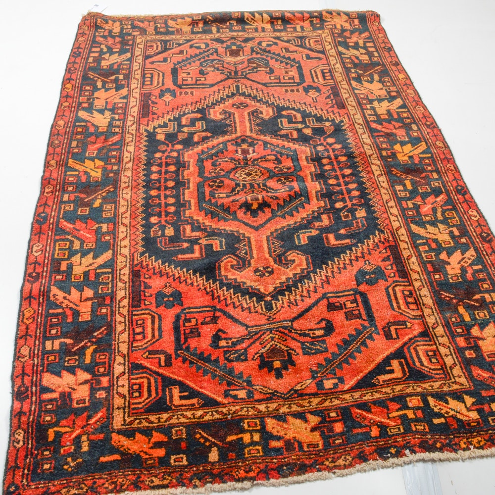 4' x 7' Semi-Antique Hand-Knotted Persian Zanjan Rug