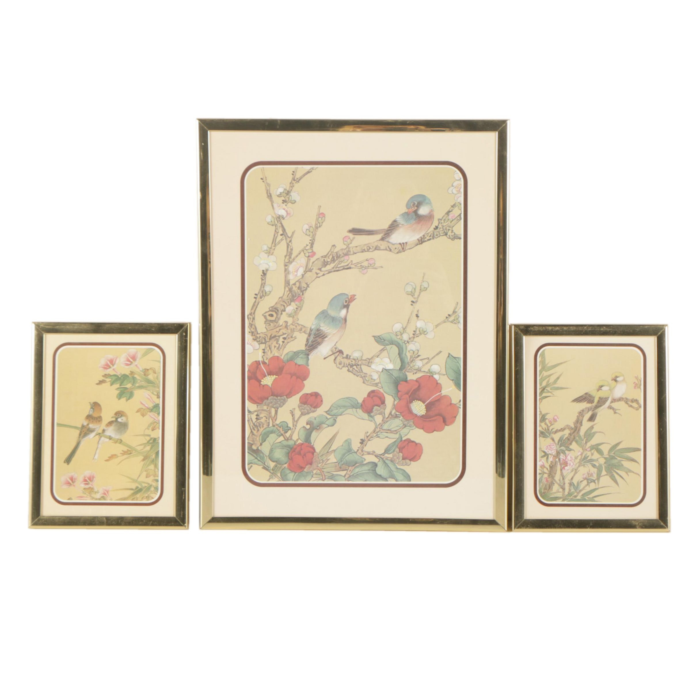Chinese Offset Lithograph Prints of Birds and Blossoms