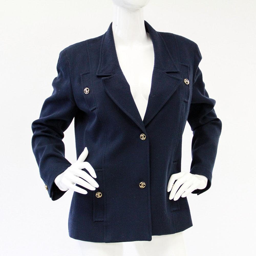 Vintage 1980s Chanel Navy Wool Blazer